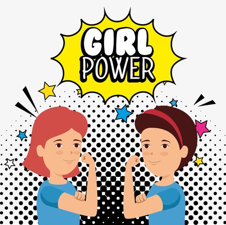 women protest with star and girl power message vector illustration