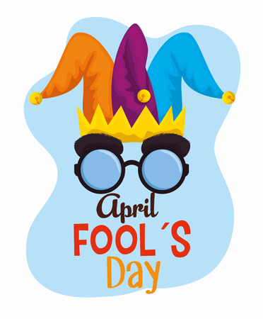 joker hat with funny glasses to fools day vector illustration