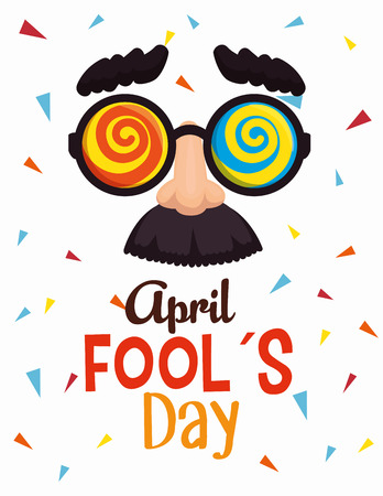 funny glasses to fools day celebration vector illustration