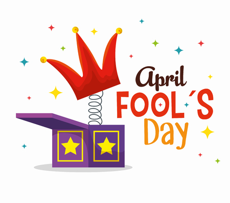 box with crown to fools day celebration vector illustration