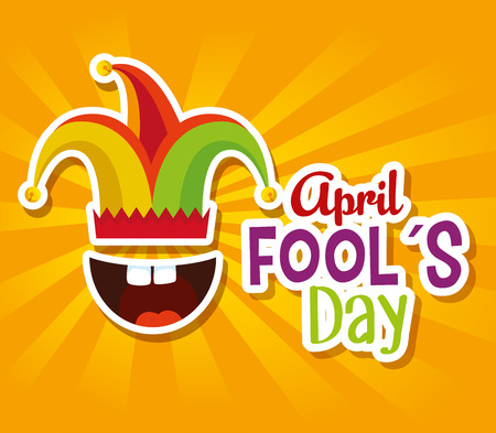 joker hat with mouth and teeth to fools day vector illustration