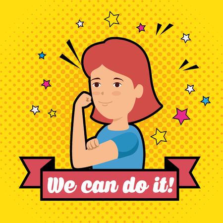 woman with stars and ribbon with we can do it message vector illustration Illustration