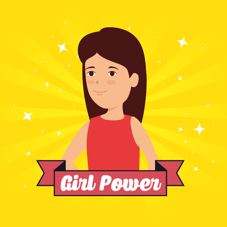 fashion woman and ribbon with girl power message vector illustration Illusztráció