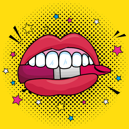 fashion mouth with teeth and lipstick patch vector illustration