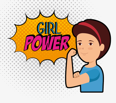 woman and fashion star with girl power message vector illustration Иллюстрация