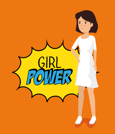 woman with girl power message inside star vector illustration