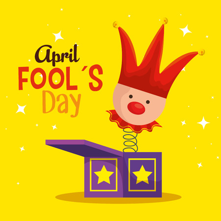 box with joker and hat to fools day vector illustration