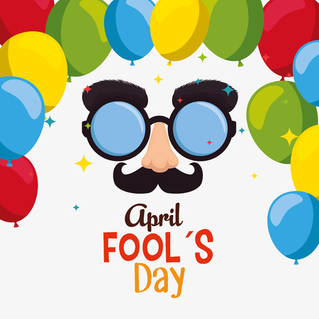 funny glasses with nose and mustache to fools day vector illustration
