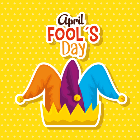 joker hat to fools day celebration vector illustration