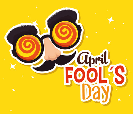 fools day celebration with humor glasses vector illustration
