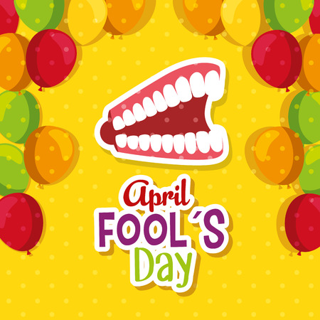 funny teeth with fools day celebration vector illustration