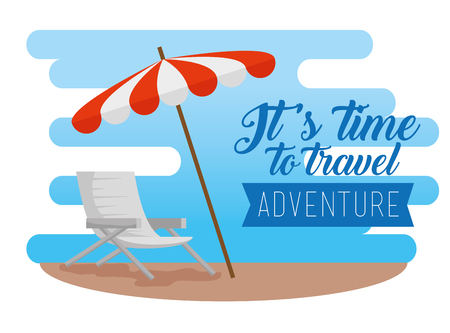 sun umbrella with chair to vacation adventure vector illustration