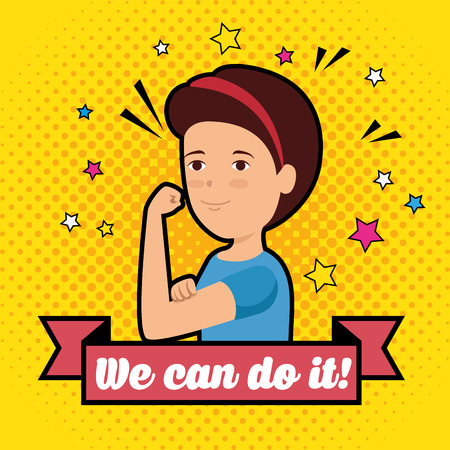 woman with ribbon and we can do it message vector illustration Illustration