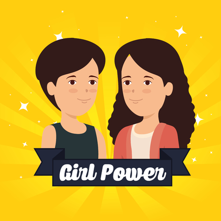 women and ribbon with girl power message vector illustration Фото со стока - 124502868