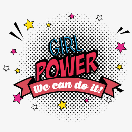 girl power patch message and ribbon vector illustration 일러스트