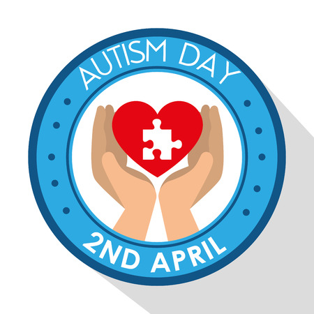 label with hand and puzzle inside heart to autism day vector illustration