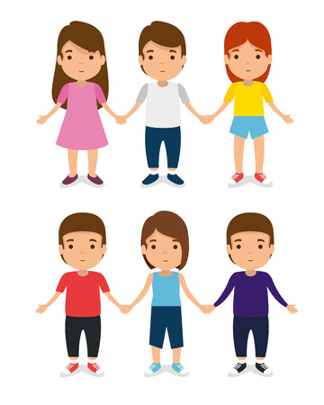 set kids together with casual clothes and play vector illustration