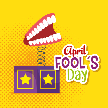 box with teeth to fools day celebration vector illustration