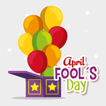 box with balloons to fools day celebration vector illustration