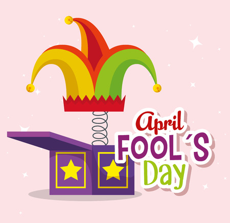 funny box with joker hat to fools day vector illustration