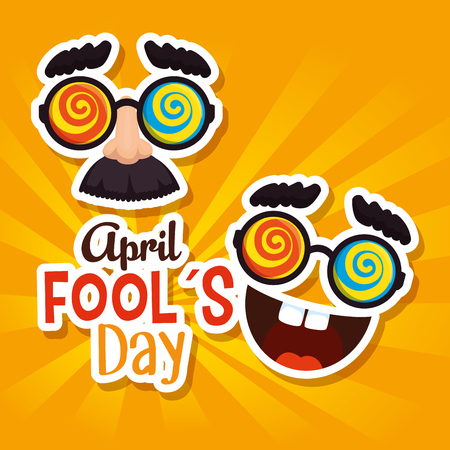 funny mask with glasses to fools day vector illustration Illustration