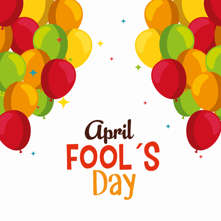 funny balloons to fools day celebration vector illustration Ilustrace