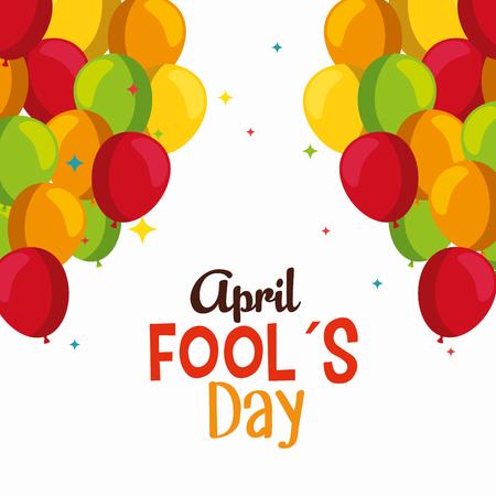 funny balloons to fools day celebration vector illustration Illustration