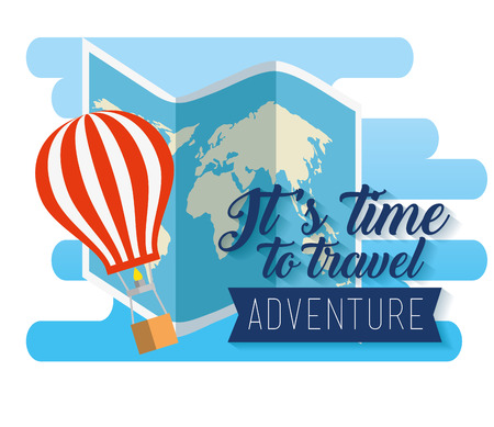 global map and air balloon adventure vector illustration  イラスト・ベクター素材
