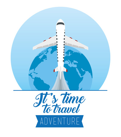 earth planet with airplane to destination journey vector illustration