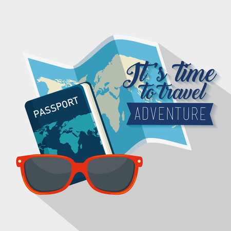 global map with passport travel and sunglasses vector illustration  イラスト・ベクター素材