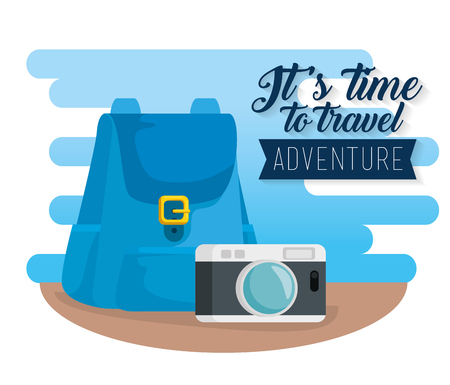 travel backpack with camera to journey adventure vector illustration
