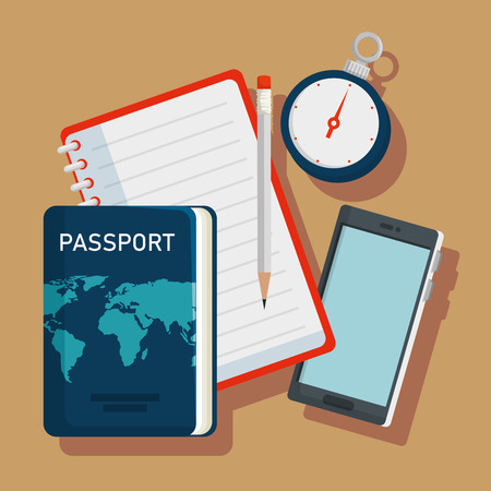 passport with compass and notebook to travel adventure vector illustration  イラスト・ベクター素材
