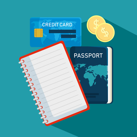 credit card with travel passport and notebook vector illustration