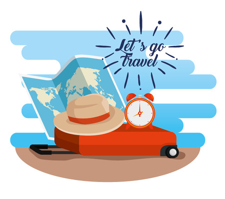 global map with hat and clock on the suitcase vector illustration