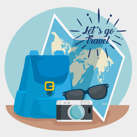 global map with trabel backpack and camera vector illustration