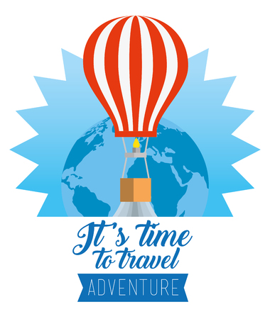 earth planet with air balloon travel vector illustration
