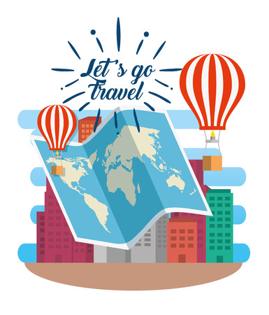 global map with air balloons and building vector illustration