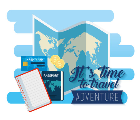 global map with credit card and passport vector illustration