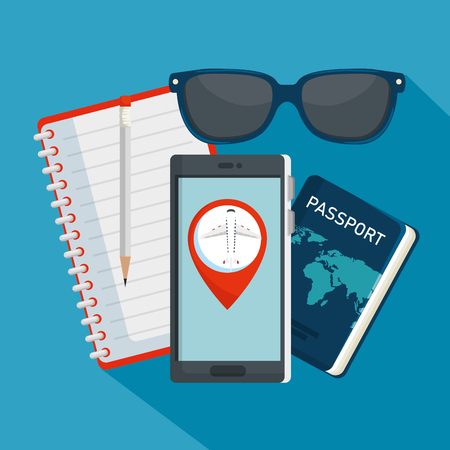 notebook with pen and travel passport with sunglasses vector illustration