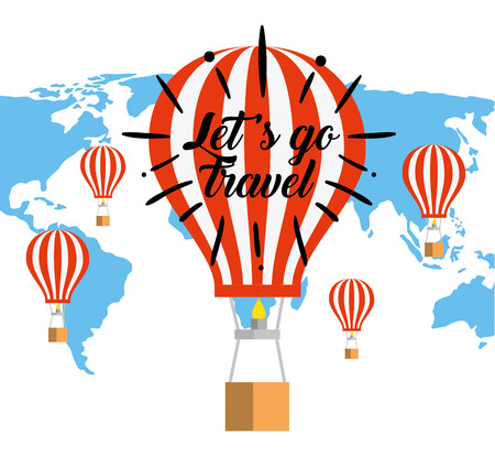global map with air balloon travel vector illustration