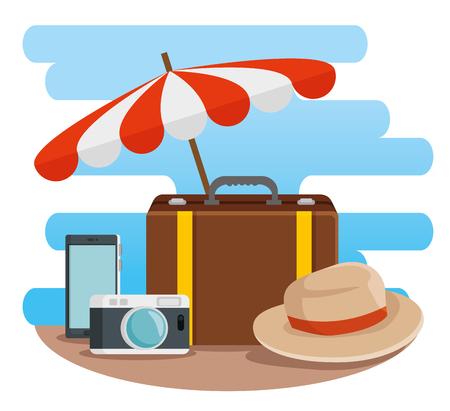 umbrella vacation with baggage and camera adventure vector illustration