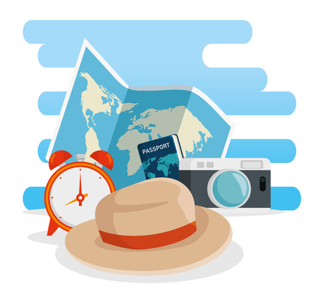 global map with travel passport and camera vector illustration