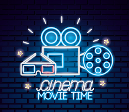 projector reel 3d glasses movie time neon vector illustration Illustration