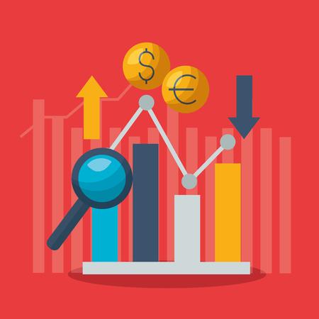 grafico crescita diminuzione denaro mercato azionario finanziario illustrazione vettoriale