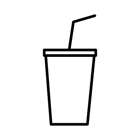 disposable soda straw on white background vector illustration