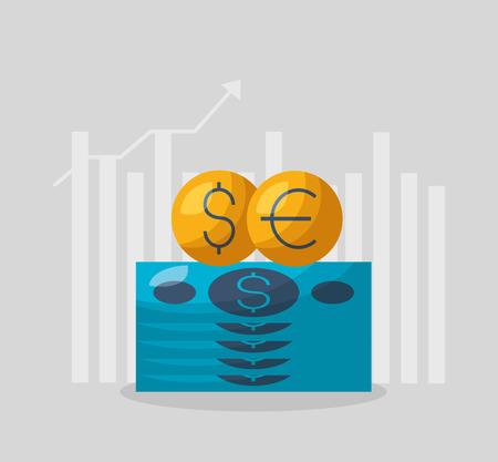 money dollar euro chart financial stock market vector illustration Foto de archivo - 118753642