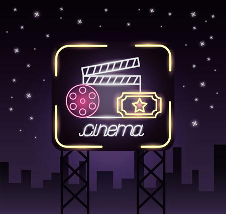clapboard ticket reel movie time neon vector illustration Illusztráció