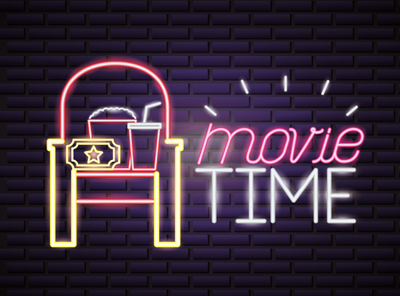 seat popcorn and soda movie time neon vector illustration Фото со стока - 124502942