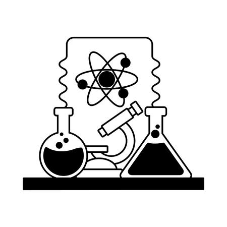 Ilustración de vector de microscopio de tubo de ensayo de herramientas de laboratorio de ciencia