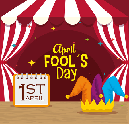 circus with calendar and joker hat to fools day vector illustration